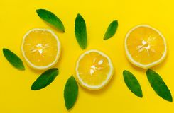Sliced lemon and mint leaves on a bright yellow background. Background for the design of banners, websites. Sliced lemon and royalty free stock image