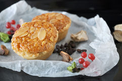 Sliced Almonds Tart on Tray Stock Images