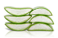 Sliced aloe vera gel in leaves Royalty Free Stock Photos