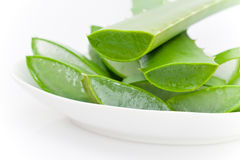 Sliced Aloe Vera plant. Bowl of sliced aloe vera plant leaves with transparent gel stock images