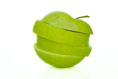 Sliced apple. Sliced green apple isolated on white background Royalty Free Stock Image