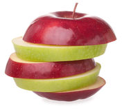 Sliced apple. Sliced red and green apple on white background Royalty Free Stock Photography
