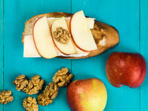 Sliced Apple with Brie Cheese and Walnuts on Toasted Baguette Stock Image