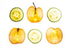 Sliced Apple & Cucumber Royalty Free Stock Photos