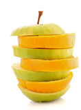 Sliced apple and orange Royalty Free Stock Photo