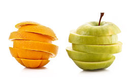 Sliced apple and orange isolated Stock Image