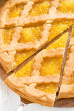 Sliced apple pie, close-up, top view Stock Photo