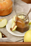 Sliced apples and dipping sauce. Royalty Free Stock Image