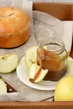 Sliced apples and dipping sauce. Stock Images
