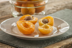 Sliced apricots isolated Stock Photo