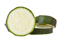 Sliced baby marrow. On a white backround Stock Images