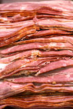 Sliced Bacon. A detail of a sliced bacon Stock Photo