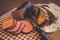 Sliced bacon and bread Royalty Free Stock Images