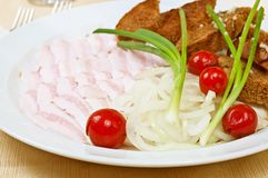 Sliced bacon. With onion and bread rusks on a dish in restaurant Stock Images
