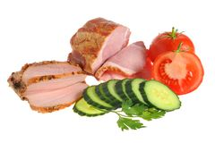 Sliced bacon, turkey and vegetables with green leaves of parsley Stock Images