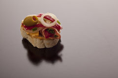 Sliced baguette with savoury topping Stock Photos