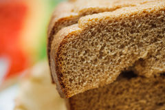 Sliced of baked brown bread Stock Photo