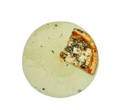 Sliced baked pizza on plate isolated with clipping path Stock Image