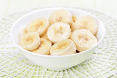 Sliced banana in bowl Stock Photography