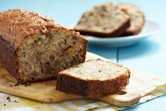 Sliced banana bread with walnuts Stock Photos