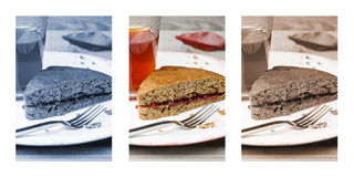 Sliced banana cake with fork in a white plate. On wooden table. Triptych Royalty Free Stock Images