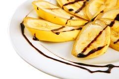 Sliced banana with chocolated Stock Photo