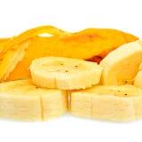 Sliced banana isolated on white Stock Images