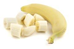 Sliced banana. Isolated on white Royalty Free Stock Photos