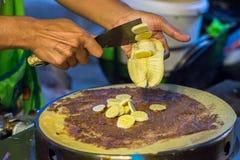 Sliced banana on a pancake Royalty Free Stock Photos