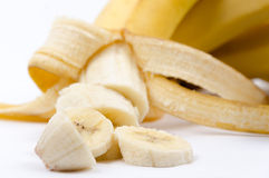 Sliced Banana on White Royalty Free Stock Image