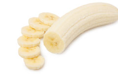 Sliced bananas. Freshly sliced bananas on a white background stock photos