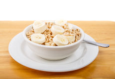 Sliced Bananas on Toasted Oat Cereal Stock Image
