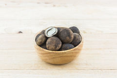 Sliced Barometer Earthstars mushroom on wood background. Stock Image
