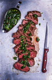 Sliced beef barbecue steak with chimichurri sauce Stock Photos