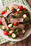 Sliced beef steak with a salad of fresh vegetables close-up. Ver Stock Photos