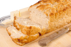 Sliced Beer Bread. Served with butter Stock Image
