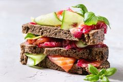 Beetroot marinated salmon sandwiches Royalty Free Stock Images