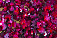 Sliced beets into cubes. The sliced beetroot cubes closeup Stock Photography