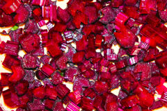 Sliced beets into cubes. The sliced beetroot cubes closeup stock image