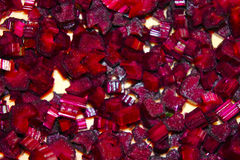 Sliced beets into cubes. The sliced beetroot cubes closeup Royalty Free Stock Photo