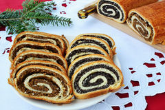 Sliced Beigli - walnut and poppy seed rolls Royalty Free Stock Photos