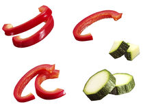 Sliced bell pepper and courgette Stock Photography