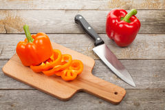 Sliced bell pepper on cutting board Stock Photography