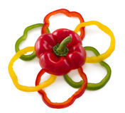 Sliced bell peppers arrange in flower shape. Stock Photography