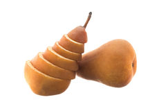 Sliced Beurre Bosc pear Royalty Free Stock Images