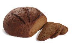 Sliced black bread. On the white background Stock Images