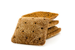 Sliced black bread on white background. Isolated Royalty Free Stock Photos