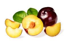 sliced black plum Royalty Free Stock Image
