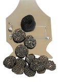 Sliced black truffes stock image
