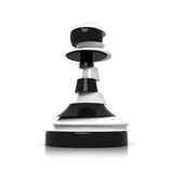 Sliced black and white pawn isolated on white. Treason and duplicity concept illustration Royalty Free Stock Photo
